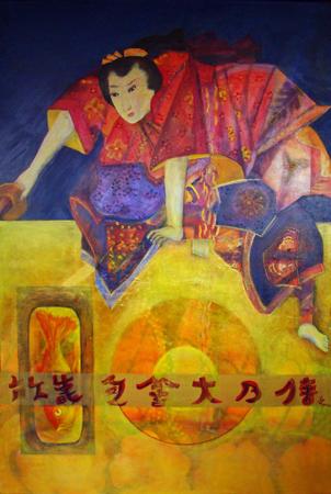 k-kabukispeler-acrylolieverf-100x150cm